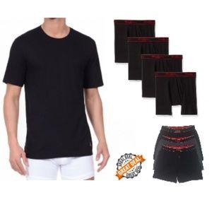 NEW Lot of 9 Men's Tee's & Boxer Brief Underwear L
